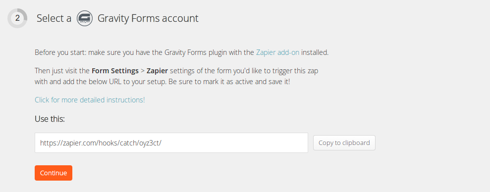 Screenshot of Select a Gravity Forms account