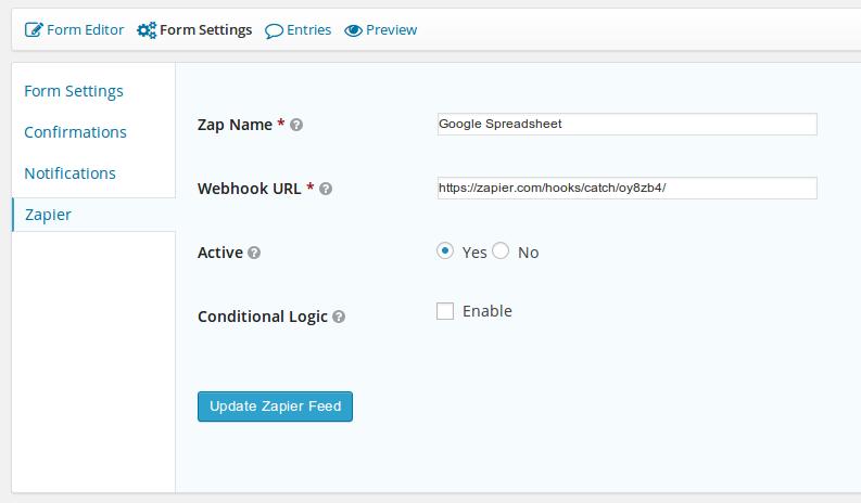 Screenshot of Gravity Forms Zapier settings in WordPress